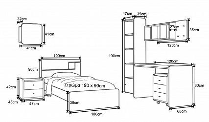15739262846 ΠΑΙΔΙΚΑ ΕΠΙΠΛΑ - ΝΕΑΝΙΚΑ ΕΠΙΠΛΑ - Παιδικά δωμάτια από ξύλο μασίφ - MDF  καπλαμά->Παιδικό δωμάτιο ΣΚΥΡΟΣ 1 Ξύλο Δρυς Ντεκαπέ - Λάκα Νο. 16 -  woodyline.gr